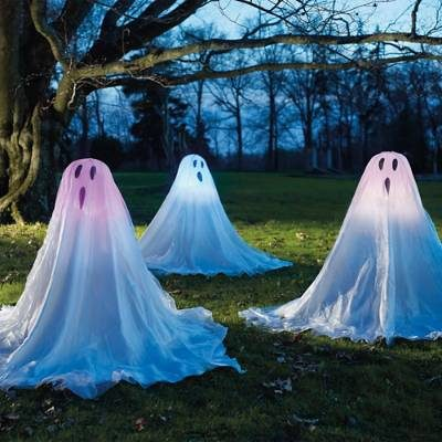 set of three lighted staked halloween ghosts halloween yard lighting