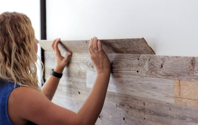 Easy Diy Peel And Stick Wood Wall Panels Thesuperboo