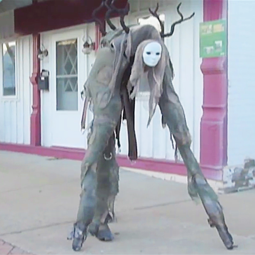 in case youre a fan of creepy halloween costumes in any case you should need to consider this terrifying four legged stilt spirit