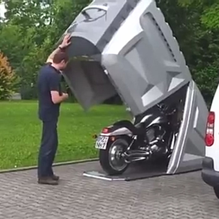 This motorcycle garage is easy to install and very strong