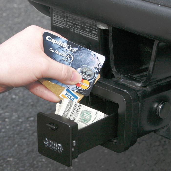 this Trailer Hitch Cover turns into a Key Safe