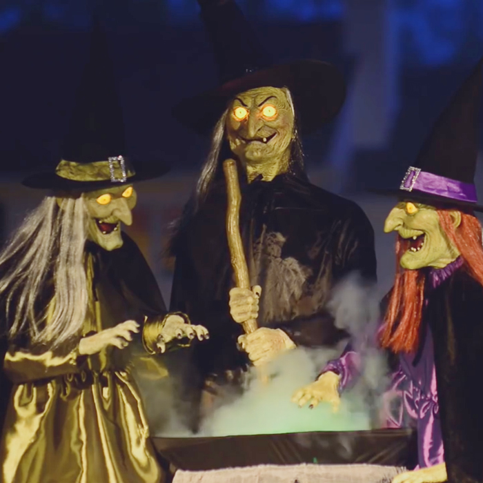 Animated Brewing Witch Trio:
