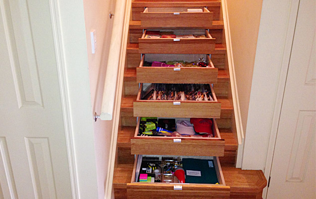 Hidden Drawers In Stairs