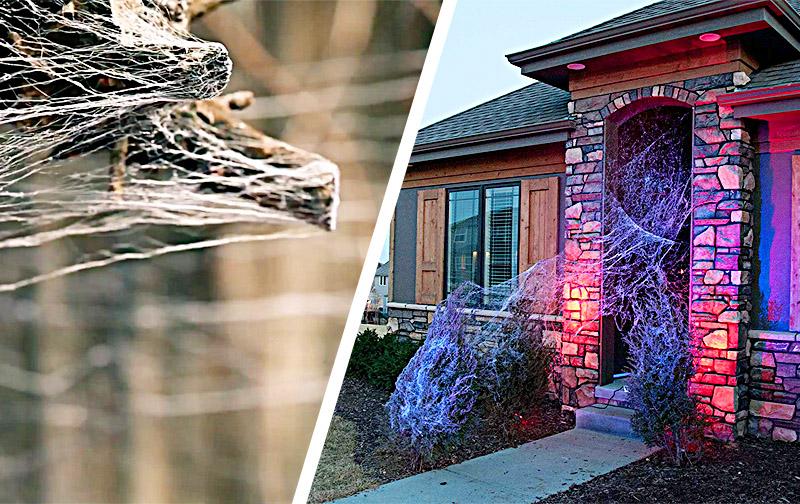 Realistic Halloween Spider Web Decorations | Webcaster Gun