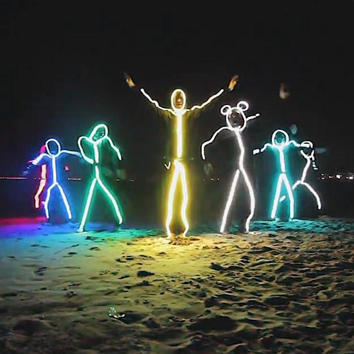 light up stick figure costume