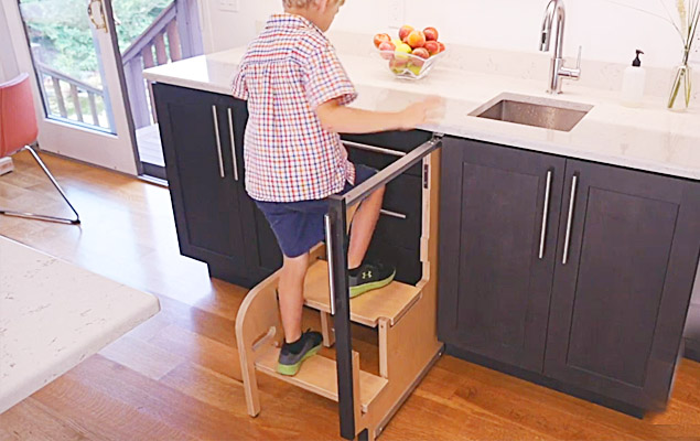 Folding Step Stool That Pulls Out From a Cabinet | TheSuperBOO!
