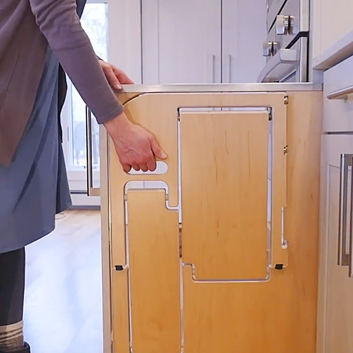 Folding Step Stool That Pulls Out From A Cabinet