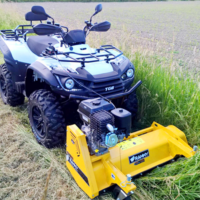 Turn your ATV into a lawn mower with the 'Rammy' flail mower attachment. It mounts onto the front of your 4x4 ATV. It weights 210 lb and powered by a 1.5 litter engine. You can also adjust the cutting height from 2 to 10 cm. This mini and powerful mower easily fits into your ATV and helps you tomow your fieldor a yard much quicker than a traditional mower. The powerful engine allows you to easily cutgrass, hay, small trees, andmeadow grass. ATV Mower: ThisRammy 4x4 lawn mower attachment is usable for bothpersonal and commercial uses. So you can use this for massive commercial projects like trim roadsides ormeadows. This ATV mower attachment get the power from it's own 1.5 litter engine. So it won't depends on your AVT's power and won't affect it's performance. And it allows you to do massive amount of work with less effort. Thisattachment fits into the front portion of your ATV. It easily connects with almost any kind of ATVs likeArctic-Cat, Kawazaki, Polaris, Yamaha,Honda, Can-Am, and Suzuki. You can adjust the mowers cutting height from 2 to 10 cm with the help offront wheels and the back roller. And also themower attachment can be lifted up and down easily. It uses the durable and powerfulBriggs & Stratton 305 cm3 engine with thedouble-belt transmission. The installation process is very simple and easy. You can connect theRammy 4x4lawn mower attachment with an ordinary tool kit from your ATV. This mower attachment measures31.1 inches long x47.2 inches wide. Finally, you can get your lawn mowed in few seconds with this giant tractor like lawnmower. Check theRammy flail mower attachment here! Watch theExtreme ATV Mower Attachment in action: