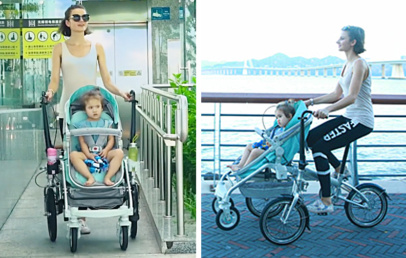 This Child Stroller is a Folding Bicycle for Parents | Alfawise Bike Stroller