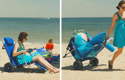 2-in-1 Beach Lounger | This Folding Beach Chair Turns Into a Beach Cart