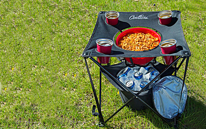 Best Folding Camping Table | Have Insulated Cooler & Food Basket For Tailgating