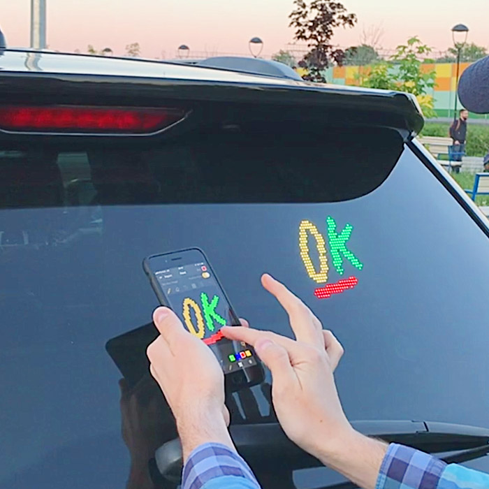 Rear-Window Car Emoji Display You Can Change With Your Voice