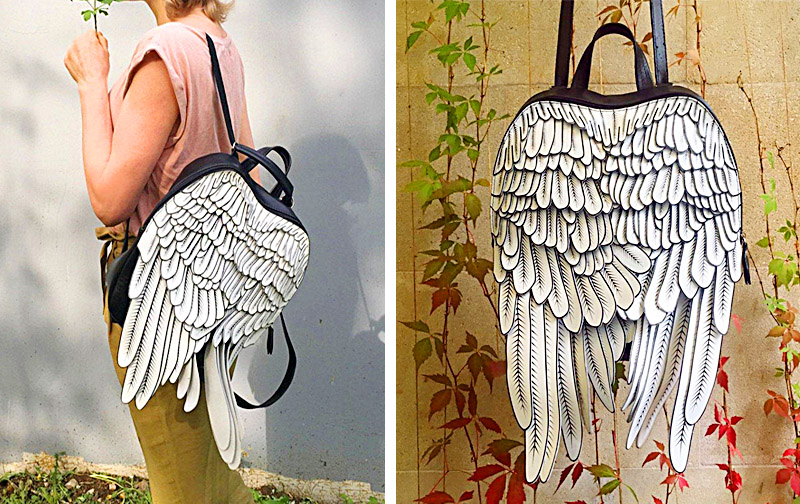 Cool Backpacks With Wings | Angel Wing Leather Backpack