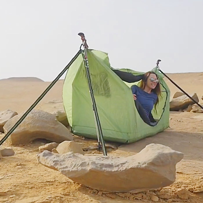 Hammock tent with sleeping pad