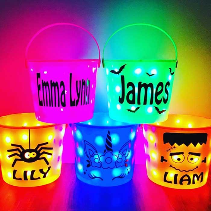 Light Up Halloween Candy Buckets