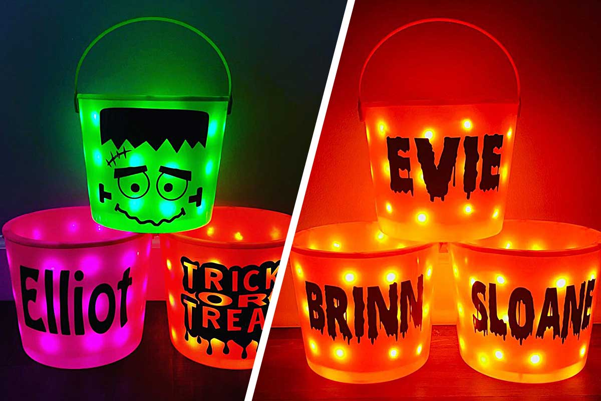 Light Up Halloween Trick or Treat Buckets | Keep Kids Visible At Night