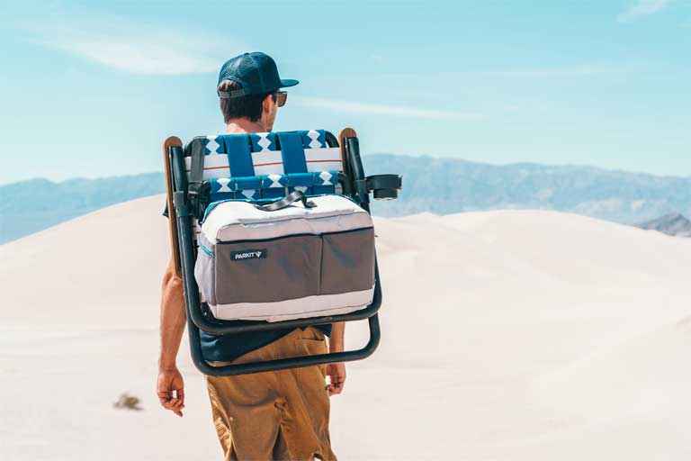 lawn chair that doubles as a cooler, and triples as a pack