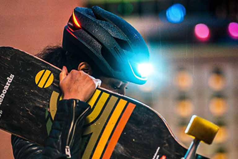 LED Bike Helmet has built-in turn signals
